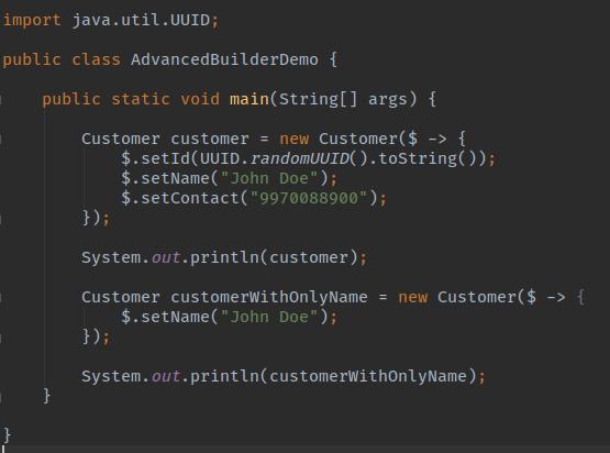 Advanced Builder Mutable Object Demo